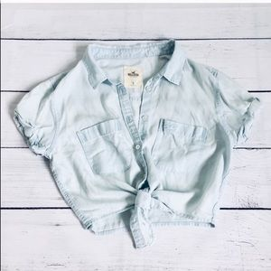 Hollister lyocell crop shirt top size S